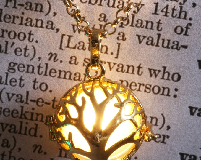 Glowing tree of life pendant glowing tree necklace glowing tree locket, Golden locket with glowing Orb - Valentine Gift for her - Warm White