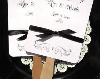 Unique Wedding Fans | Wedding Hand Fans | Wedding Favor Fans | Black and White Wedding Fans | Wedding Fans | Personalized Fans |