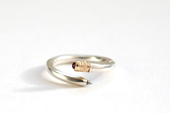 Pencil Ring, Sterling Silver, 9ct Yellow Gold, Ruby, Silver Pencil Ring, Handmade by RockCakes, Brighton, uk