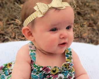 Gold Chunky Glitter Hair Bow on Ivory & Gold Headband for Newborn, Infant, Baby, Toddler, or Girls