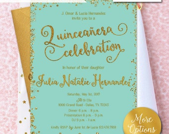 Paris quinceanera invitation quinceanera invitation quinceaera invitation quinceanera invites gold glitter quinceaera celebration gold glitter teal solutioingenieria Image collections