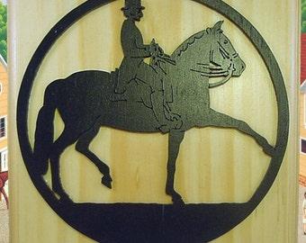 Femal Equestrian Rider Fretwork Wood Wall Hanging