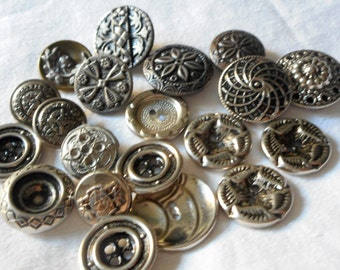 Lot of 20 VINTAGE Silver Metal BUTTONS