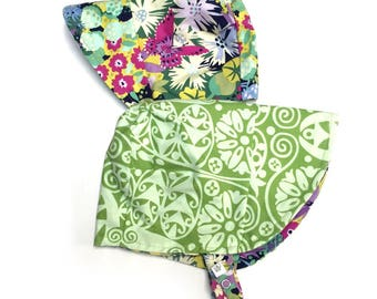 UB2 TEMPLE GARDEN swoon-worthy stained-glass garden flowers & intricate organic swirls on an infant toddler sun hat, by Urban Baby Bonnets