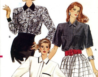 Vogue 7308 Easy Blouse Top Shirt Concealed Button Closing Size 6 8 10 Uncut Vintage Sewing Pattern 1988