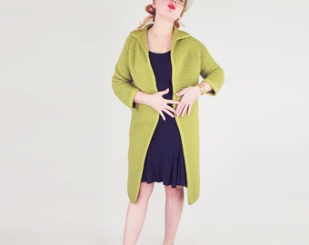 60s Olive Green Wool Sweater Clutch Coat S M