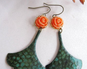 Patina Gingko Leaf Earrings, Botanical Earrings, Orange Flower Earrings, Bohemian, Vintage style, Gardendiva