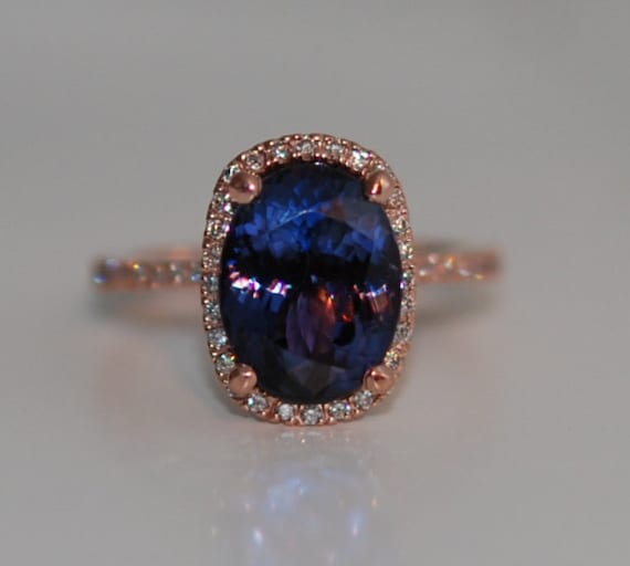 Tanzanite Ring. Rose Gold Engagement Ring Indigo Blue Tanzanite cushion cut halo engagement ring 14k rose gold.