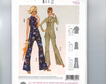 Misses Sewing Pattern Burda 6891 Retro Vintage 1970s Style Coordinates Tunic Top and Bell Bottom Pants Size 8 10 12 14 16 18 UNCUT