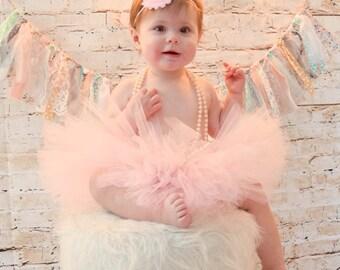 Pink First Birthday Tutu Set, First Birthday Outfit, Baby Tutu, Pink Tutu, Pink Shabby Flower Headband & Tutu, SEWN Tutu, Cake Smash Set