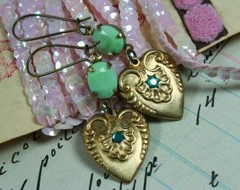 Vintage Brass Hearts, Aqua Rhinestone and Mint Jewel Earrings