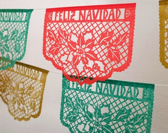 FELIZ NAVIDAD Papel Picado banners - Christmas decorations - Ready Made