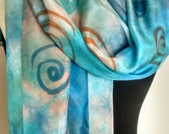 """Sarong / Wrap Hand Dyed and Painted Silk - 34 x 72"""", Shibori Dyed in Turquoise, Blue and Copper, Painted with Spirals"""