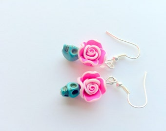 Turquoise Pink Rose Day of the Dead Tiny Sugar Skull Earrings