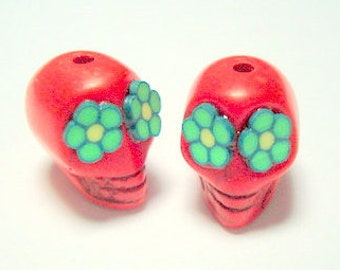 Green Flower Eyes in Small Red Day of The Dead Sugar Skull Beads-12mm