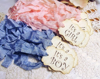 Baby Shower Favor Tags It's a Girl or Boy - Qty 18 - Ready to Ship - Gift Baby Shower - baby sprinkle its a girl its a boy rustic