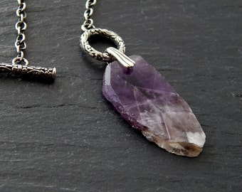 Rustic Amethyst Slice Necklace: Sterling Silver, raw gemstone slab, rough slice, hammered cut, February birthstone, ornate toggle