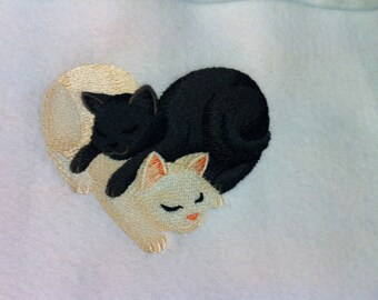 Bath Towel - Adorable Snuggling Kittens/Cats Embroidered Terrycloth Hand or Bath Towel - FREE SHIPPING