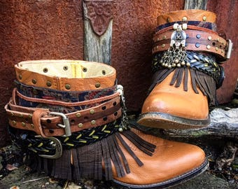 Luxury BOHEMIA Festival Boots ~ Custom Reworked Bohemian Gypsy Indie Boots, size US 7.5M ~ Ready to Ship