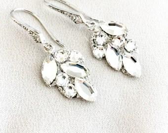 Crystal Leaf Rhinestone Bridal Earrings, Swarovski Bridal Earrings, embellished earrings, rhinestone bridal earrings, small bridal earrings