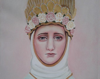"""Holy Mother of God, Mary, Original, OOAK Acrylic Painting, 16"""" X 20"""", Canvas of Our Lady of LaSalette Catholic Art, signed"""