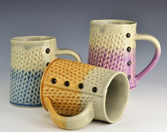 Two Tone Knitted mug Handmade ceramic mug MADE to ORDER
