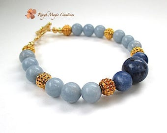 Gold & Blue Bracelet, Gift for My Wife, Chunky Gemstone, Sapphire and Sky Blue Stone, Womens Stackable Bracelet, Gold Toggle Clasp B225