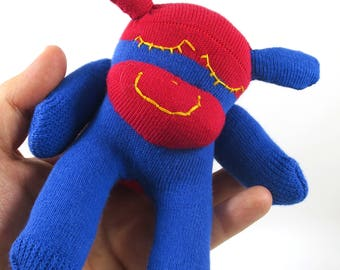 NEW* Teeny Tiny Mini Sock Monkey COL - red and blue with yellow embroidered eyes, handmade plush sock toy softie.