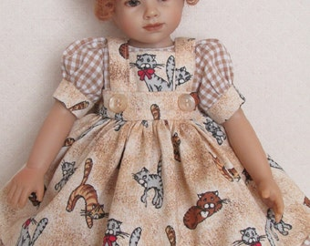 "For 10.5"" Heidi Plusczok - Gingham Dress with Kitty Pinafore. Also Fits Ann Estelle and Her 10"" Friends"