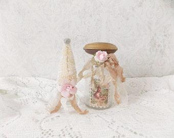 Shabby Cottage Chic Easter Tattered Vintage Glass Bottle and Cream Bottle Brush Tree Mixed Media Holiday Assemblage Art