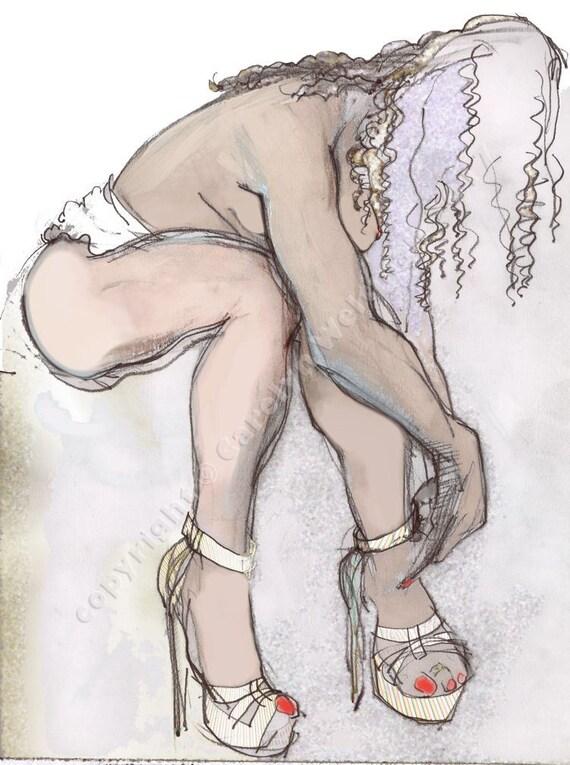 Erotic Art Print, Erotic Nudity, Pinup, Female Nude, Mature - The Exotic, Erotic Cindy Tying Her Shoe