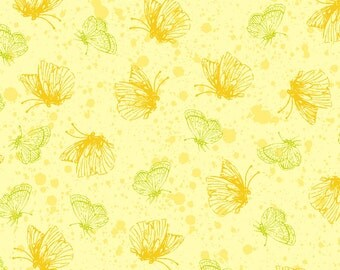 Butterflies Yellow Exclusively Quilters Fabric 1 yard