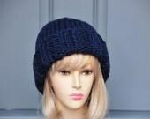 Navy Blue Knit Beanie Hat, Womens Beanie, Mens Beanie, Warm Winter Lambs Wool Blend Beanie, Chunky Knit Beanie Hat, Charcoal Gray Beanie
