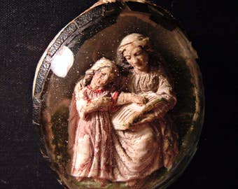 Reliquary French Antique Meerschaum Carving in Convex Glass Mother and Child Religious St. Anne