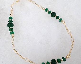 B2598 Genuine Emerald and 14 karat gold filled Bracelet