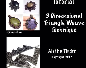 PDF TUTORIAL, 3 Dimensional Triangle Weave Technique, step by step instructions, digital download