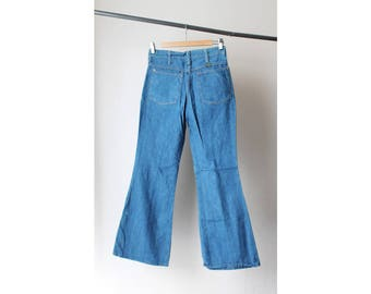 NOS 1970s Bell Bottom High Waist Chambray Jeans