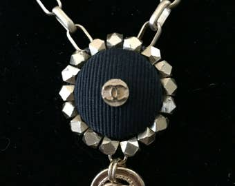 Gold Necklace with 2 Vintage Chanel Buttons