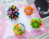 Flower Power! 1950's 60's inspired floral One-of-a-kind rings handmade by Luxulite.