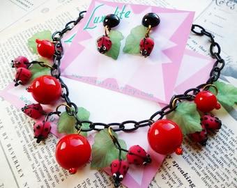 Ladybugs! 1940's 50's style handmade vintage novelty bakelite inspired ladybird necklace and optional earrings by Luxulite