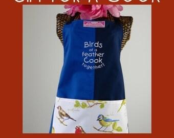 Chefs apron-Ladies apron-garden birds apron-embroidered-blue panel apron OOAK-womans apron