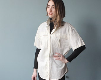 cotton utility top | short sleeve button up shirt | 1990s small - large