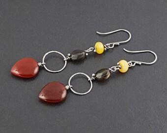 ON SALE---Shoulder Duster Earrings, sterling silver, dangle earrings, boho earrings, carnelian, smoky quartz, amber, bohemian, multi color