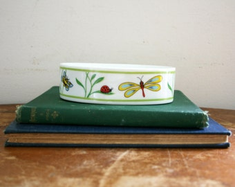 vintage 70s Dragonfly & Frog Insects Ceramic Soap Dish Made in Japan