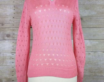 Vintage Sears Bright Pink Pointelle Knit Collar Sweater M