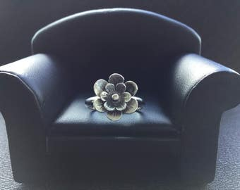 Sterling Silver Flower Ring * New for Spring * Featuring a SS Flower with a Half Round Band * Promise Ring * Stacker Ring * Ladies Gift