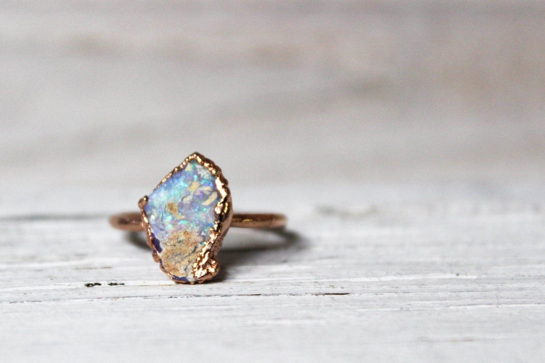 Raw Opal Ring Opal Engagement Ring Natural Australian Opal