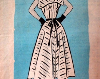 Vintage 50's Anne Adams 4854 Sewing Pattern, Misses' Dress, Wide Collar Sundress, Size 14, 32 Bust, 1950's Rockabilly Fashion