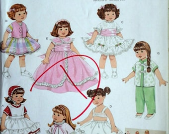 "Simplicity 3574 Sewing/Craft Pattern, 8"" Doll Clothes, Uncut FF, Simplicity Archives Retro  Reissue Doll Wadrobe"