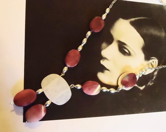 Raspberry Agate and Rose Quartz Necklace, Long